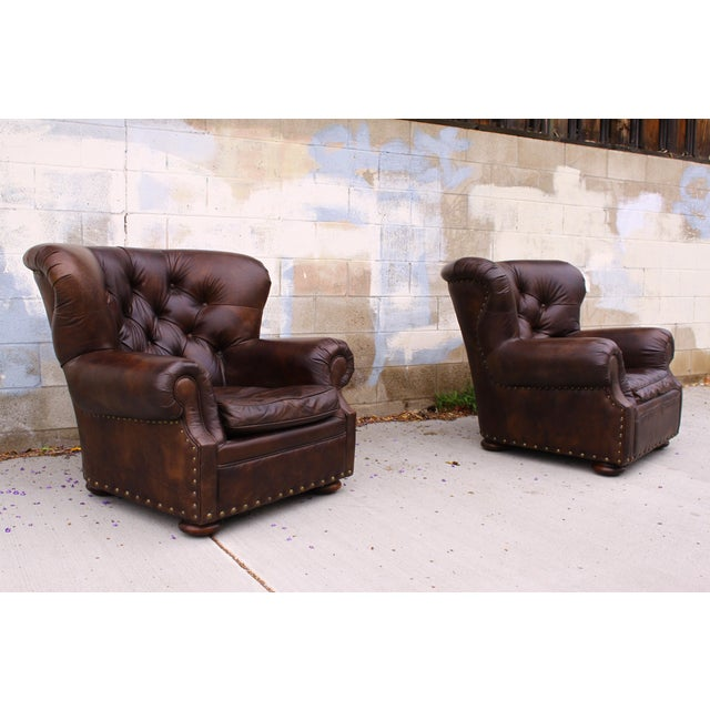 Restoration Hardware Club Chairs & Ottomans - A Pair - Image 10 of 11