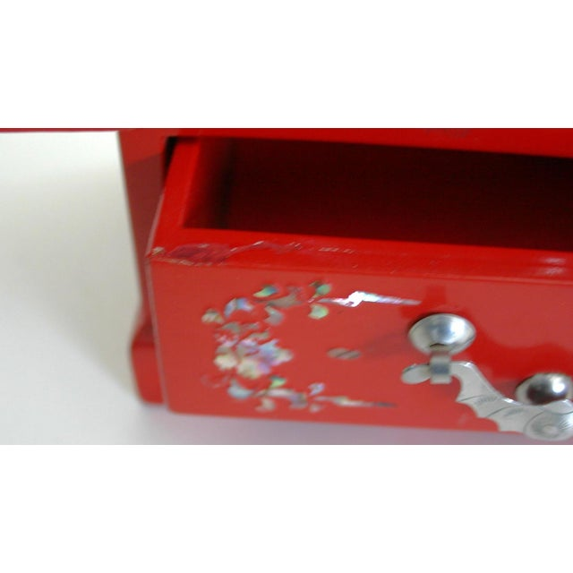Chinese Red Lacquered Jewelry Chest - Image 4 of 5