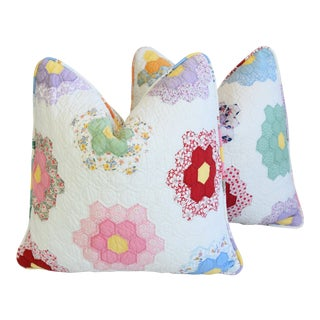 "Country Farmhouse Americana Patchwork Feather/Down Pillows 22"" Square - Pair For Sale"