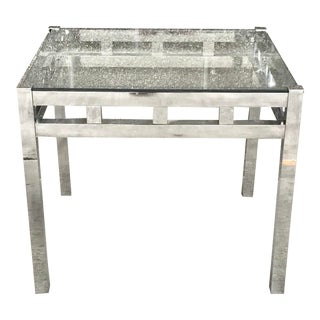 1960s Mid-Century Modern Chrome and Glass Side Table For Sale