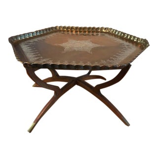 Moroccan Mid Century Brass Tray Table For Sale