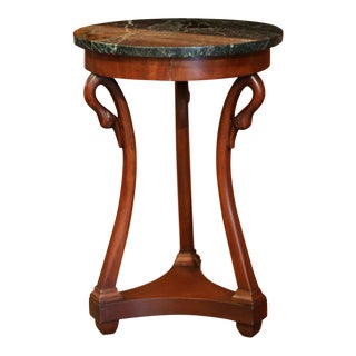 Early 20th Century French Directoire Carved Swan Walnut Side Table With Marble Top For Sale