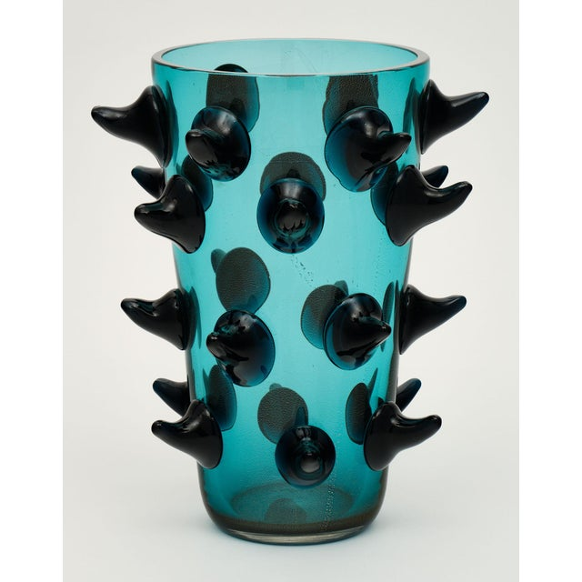 Blue Aqua Murano Glass Vases by Costantini For Sale - Image 8 of 13
