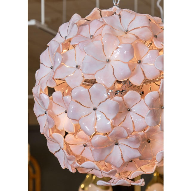 2010s Murano Glass Pink Flower Chandelier by Cenedese For Sale - Image 5 of 10