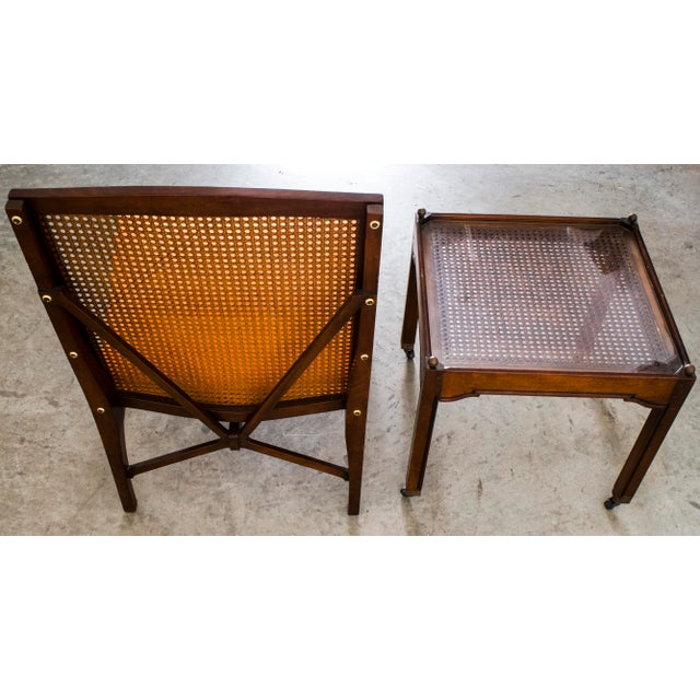 """1940s Antique """"American of Chicago"""" Mid-Century Modern Walnut & Cane Accent Chair With Side Table For Sale - Image 4 of 13"""