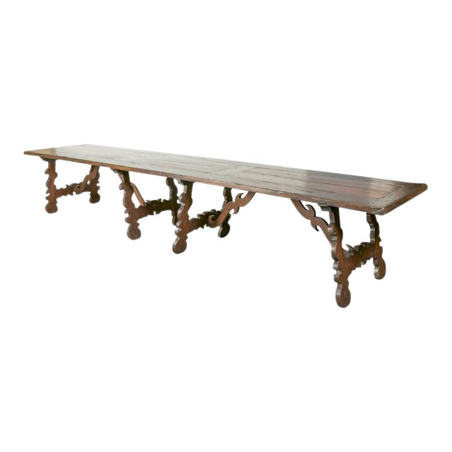 Early 19th Century Italian Baroque Style Walnut Trestle Dining Table For Sale