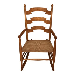 Shaker Ladder Back Style Armed Rocking Chair For Sale