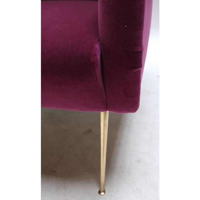1960s Italian Style Fuchsia Mohair and Brass Armchairs - a Pair For Sale In Los Angeles - Image 6 of 9