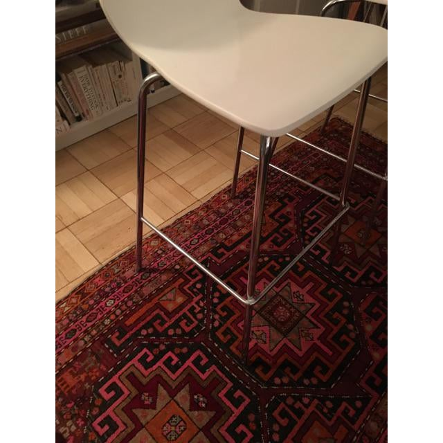 Crate & Barrel White & Chrome Bar Stools - A Pair - Image 3 of 7