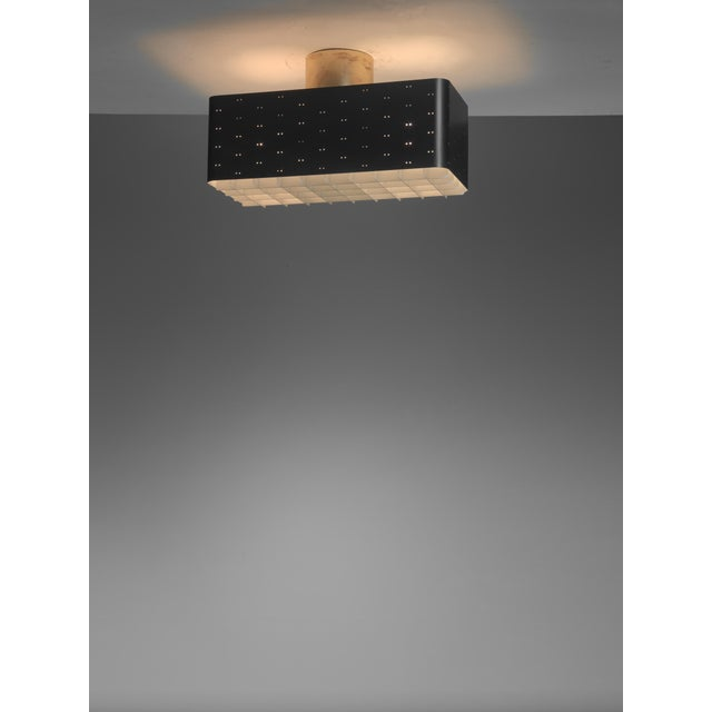 Mid-Century Modern Paavo Tynell Rectangular 9068 Ceiling Lamp in Black and White, Finland, 1950s For Sale - Image 3 of 4