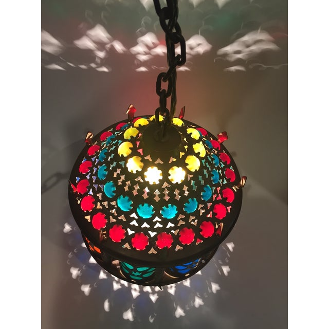 Mid-Century Brass Moroccan Jeweled Swag Light - Image 4 of 7