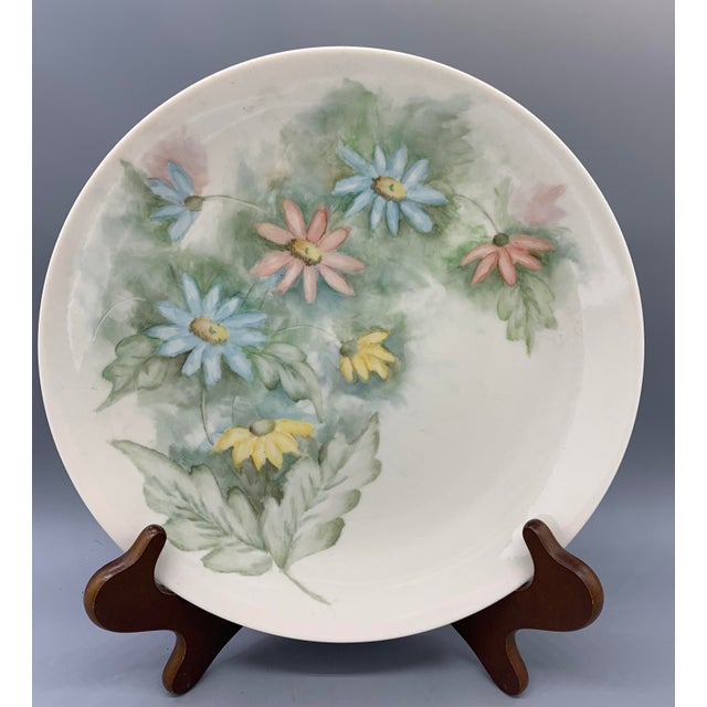 Ceramic 1940s Hand Painted Floral Decorative Wedding Plates - Set of 7 For Sale - Image 7 of 13