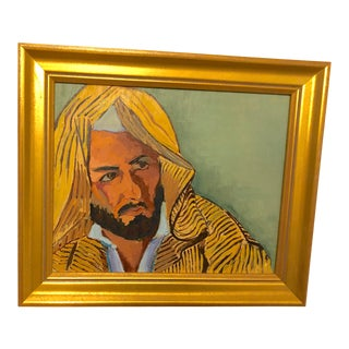 Middle Eastern Man Portrait Framed Oil on Board Painting For Sale