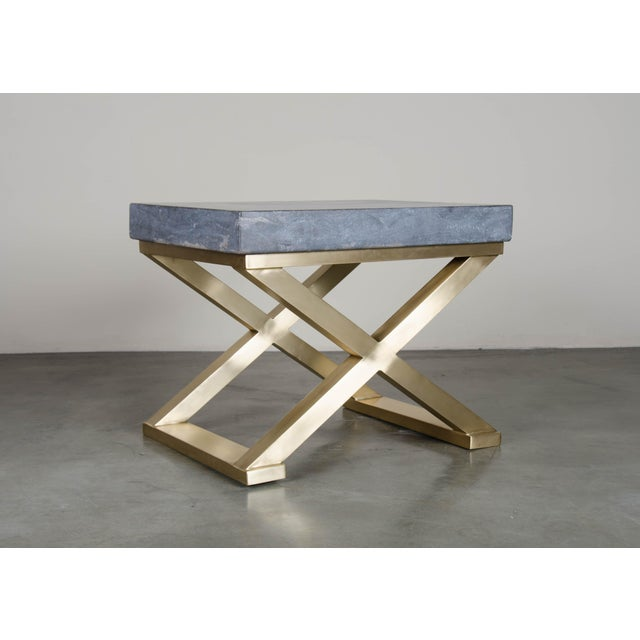 Robert Kuo Brass Cross-Leg Table with Stone Top For Sale - Image 4 of 5