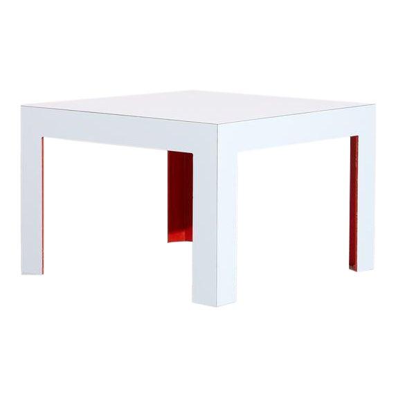 Vintage White and Red Laminate Coffee Table For Sale