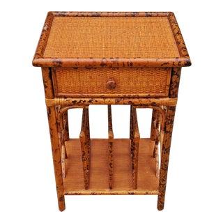 20th Century Mid-Century Modern English Bamboo Rattan Magazine Rack Side Table For Sale