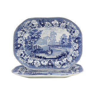 19th-C English Meat Platters W/Cows - a Pair For Sale
