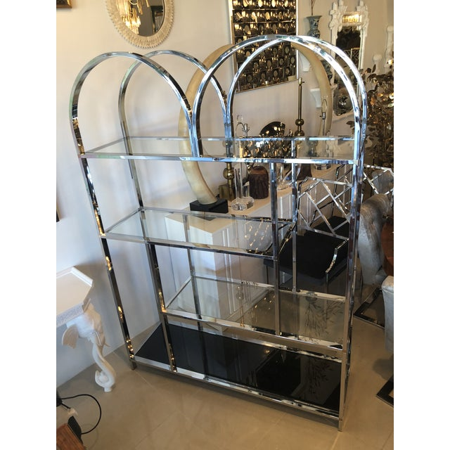 Vintage Arched Chrome Glass Display Shelf Shelves Etagere For Sale - Image 9 of 13