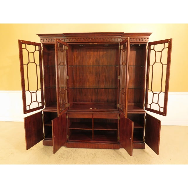 Wood Maitland Smith Large Mahogany Breakfront Bookcase Cabinet For Sale - Image 7 of 13
