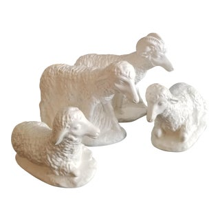 Vintage Bisque White Pottery Lambs - Set of 4