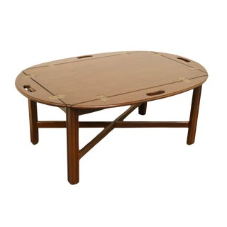 Late 20th Century Vintage Ethan Allen Georgian Style Court Butler's Coffee Table For Sale