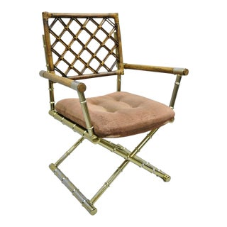 Late 20th Century Vintage Daystrom Brass Faux Bamboo Lattice Rattan Directors Arm Chair For Sale