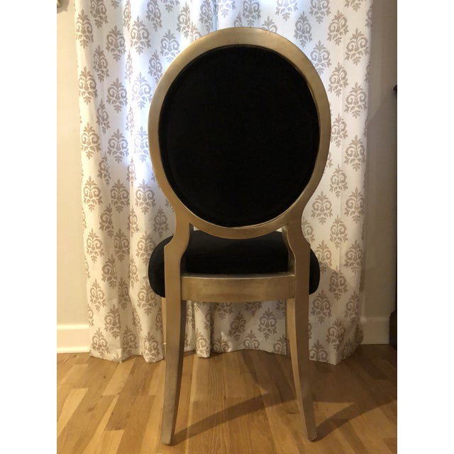 Hollywood Regency Schnadig Caracole Accent Chair in Black Velvet For Sale - Image 3 of 7
