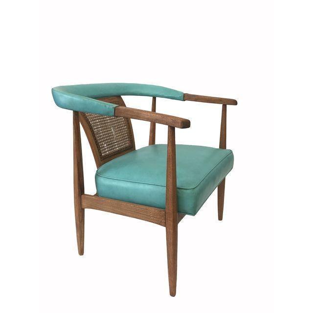 Vintage Mid-Century Teal & Oak Chair - Image 2 of 4