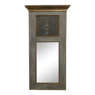 Vintage Gray with Gilt Accent Trumeau Mirror For Sale