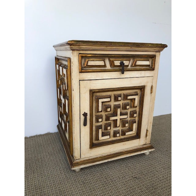 Available for sale: Beautifully carved wood with gold leaf detail nightstand. Great rustic look. Details executed to...