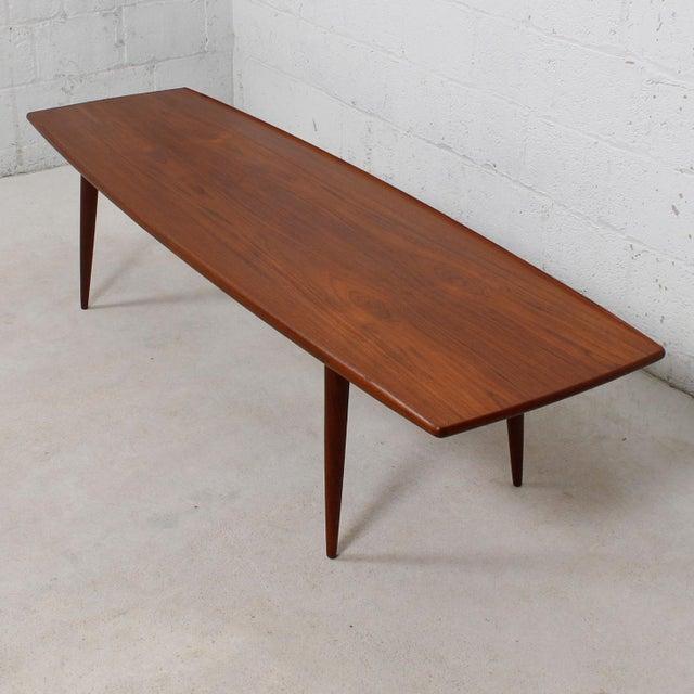 Long Danish Modern Teak Surfboard Coffee Table | Chairish