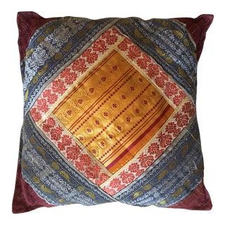 Vintage Indian Sari Quilt Pillow