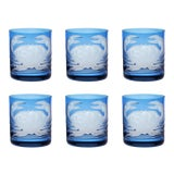 Image of ARTEL Crab Double Old Fashioned Glass in Blue - Set of 6 For Sale