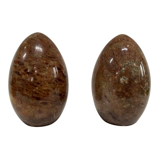 Vintage Italian Marble Egg Bookends - a Pair For Sale