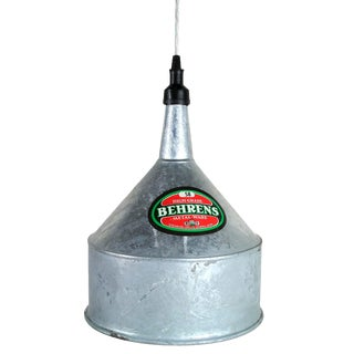 Repurposed Vintage Behrens #58 Galvanized Funnel Pendant Light For Sale