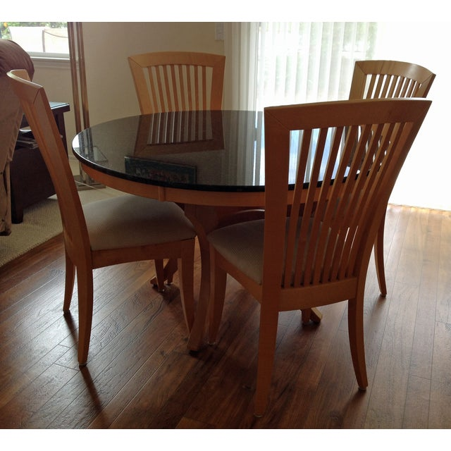Granite-Top Dinette & 5 Side Chairs - Image 4 of 8