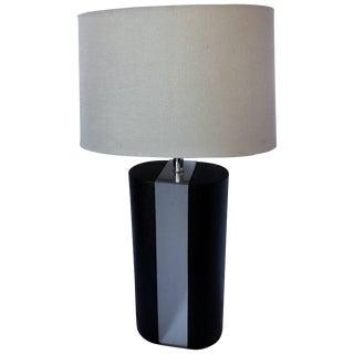 Karl Springer Style Linen Wrapped Chrome Lamp For Sale