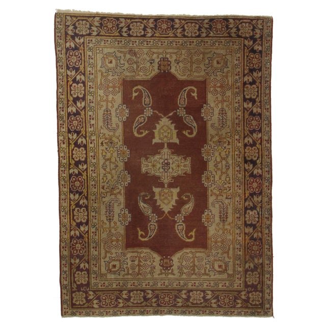 RugsinDallas Hand Knotted Wool Turkish Rug - 4′ × 5′6″ For Sale