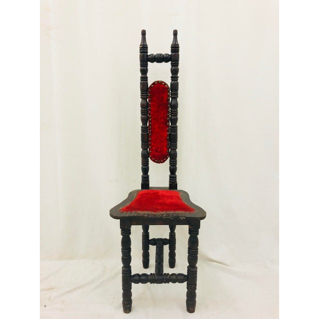 Stunning Antique Turned Wooden Chair with Original Red Velvet Upholstery and Nailhead Detail. Fabulous dark finish,...