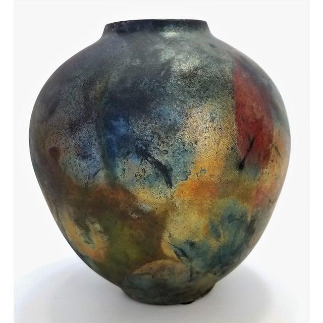 Mid-Century Modern Vintage 1970s Studio Art Pottery Ceramic Raku Vase With Scarab Beetle For Sale - Image 3 of 13