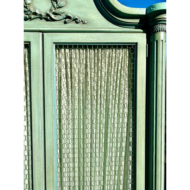 Lewis Mittman Lewis Mittman Blue Painted Louis XVI Style Armoire For Sale - Image 4 of 13