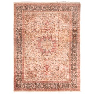 Antique Tabriz Medallion-Style Pink Wool Rug with Floral Patterns For Sale