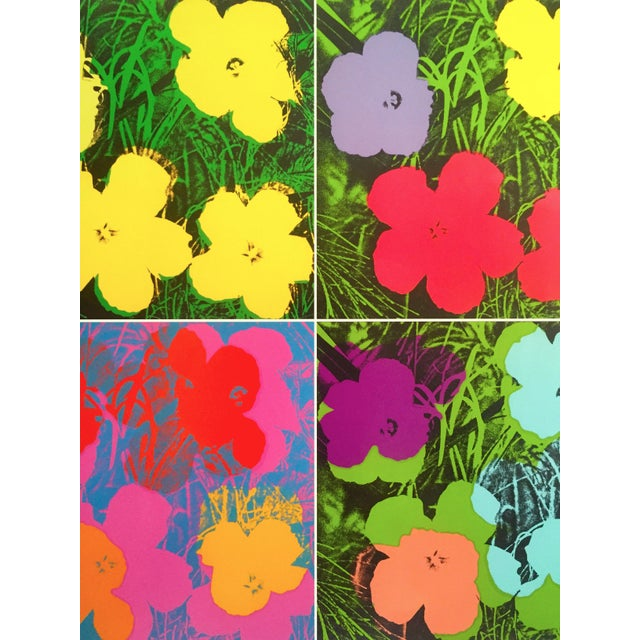 """Paper Andy Warhol Foundation """" Myths of Pop """" Museo Thyssen Lithograph Print Pop Art Exhibition Poster """" Flowers """" 1970 For Sale - Image 7 of 13"""