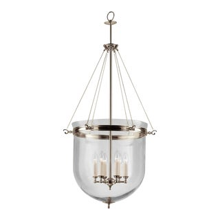 6 Candle Polished Nickel Lantern With Glass For Sale