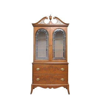 Antique Federal Style Inlaid Mahogany Stained Leaded Glass China Display Cabinet For Sale