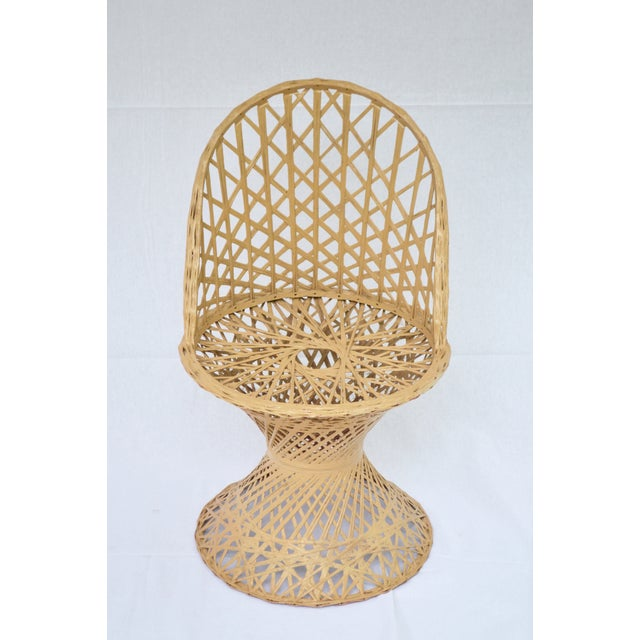 Boho Chic Mid-Century Modern Rattan Child's Table & Chairs For Sale - Image 3 of 4