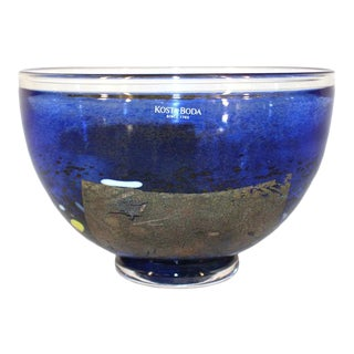 Kosta Boda Glass Bowl in Blue For Sale
