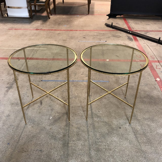 Hollywood Regency Pair of Custom Gold Finish Round Side Tables For Sale - Image 3 of 12