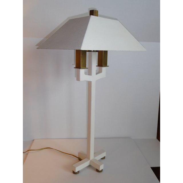 Hart Associates Postmodern Bouillotte Lamp With Painted Brass Metal Shade 1970s. For Sale - Image 10 of 11
