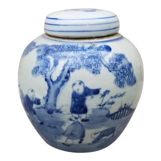 Cinese Painted Porcelain Ginger Jar For Sale